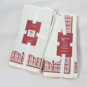 NWT Sur la Table gingham tassel napkins 8 napkins